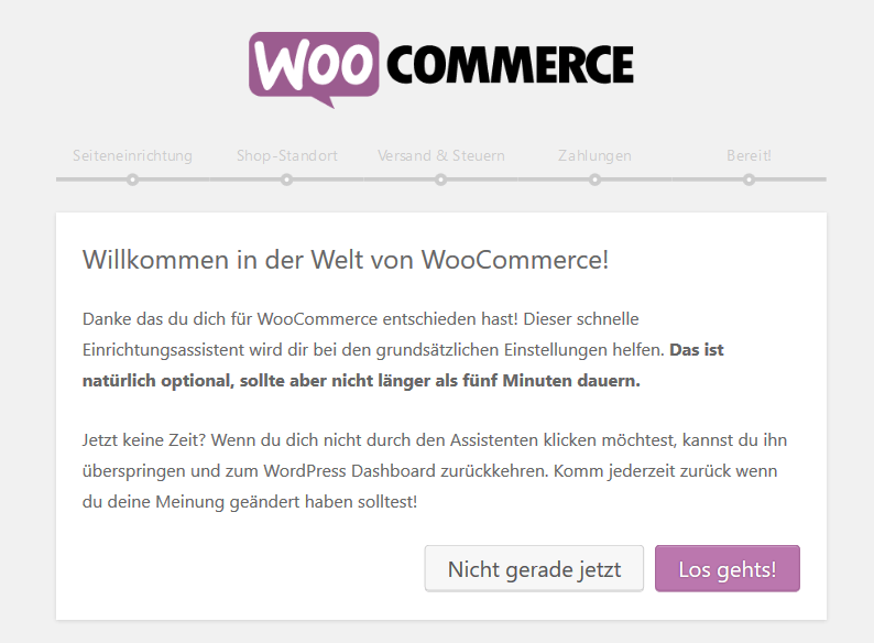 WooCommerce installations assistent
