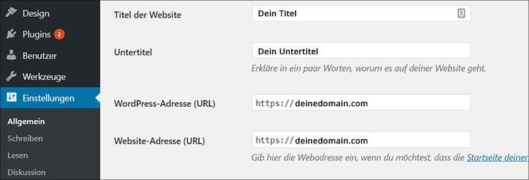 wordpress auf https umstellen adressaenderung back end