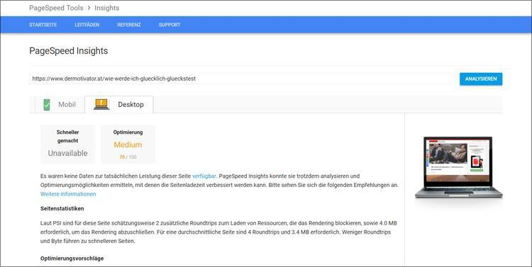 bilder seo optimieren pagespeed insight auswertung