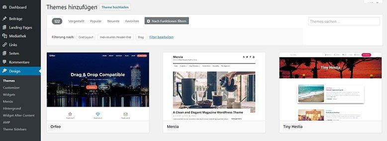 wordpress neues theme waehlen