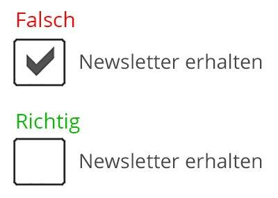 dsgvo newsletter checkbox voreingestellt