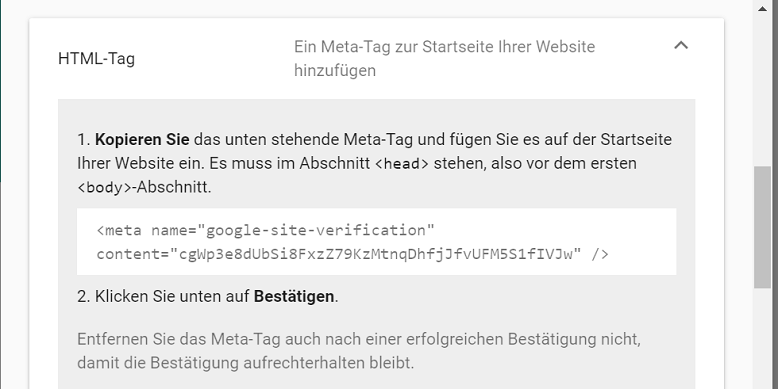 search console html tag