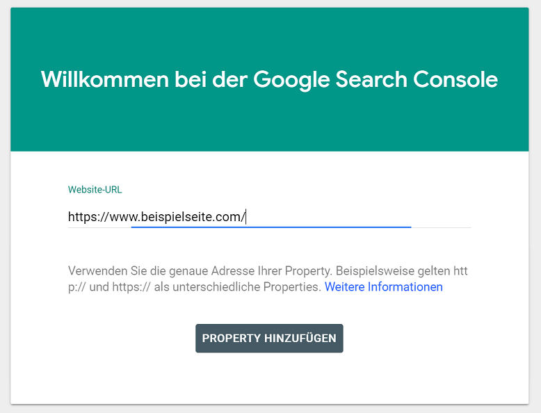 search cosole property hinzufuegen