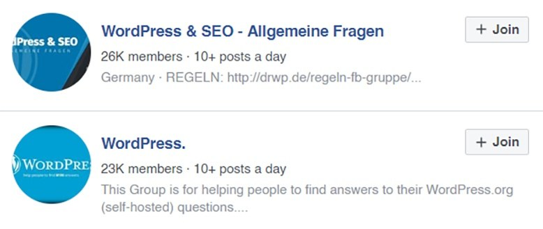 wordpress facebook gruppen