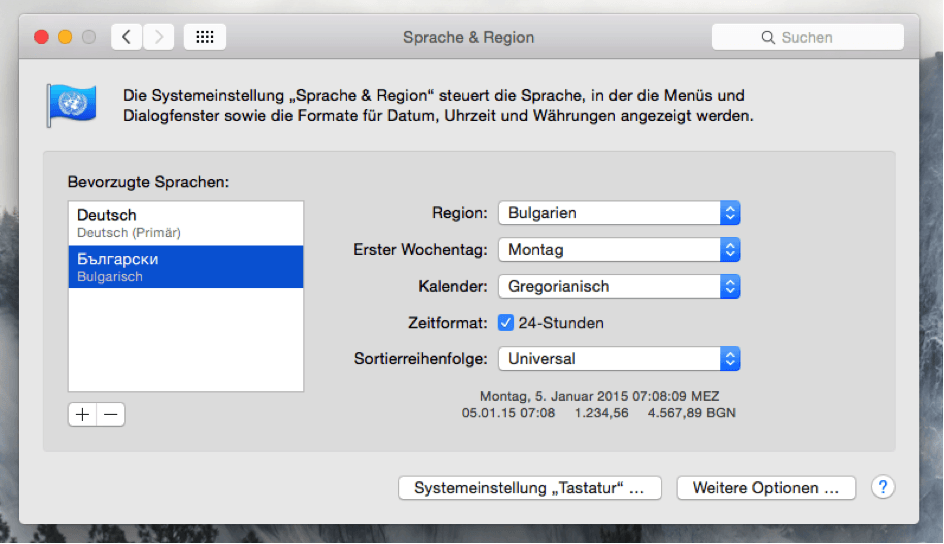 Mac Sprache Region