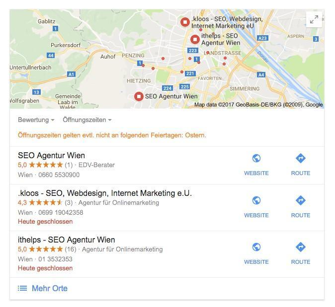 Google Places in den SERP